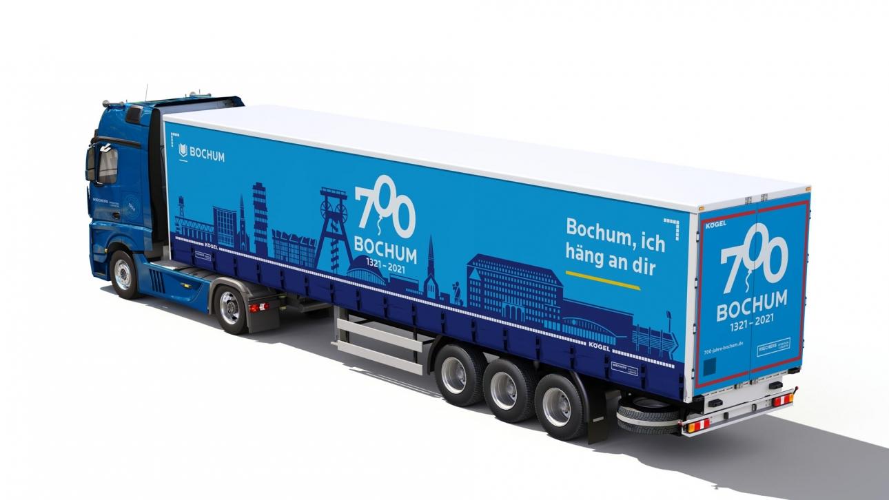 Für das Stadtjubiläum in Bochum wurde von der Werbeagentur 31M aus Essen ein LKW-Auflieger gestaltet.