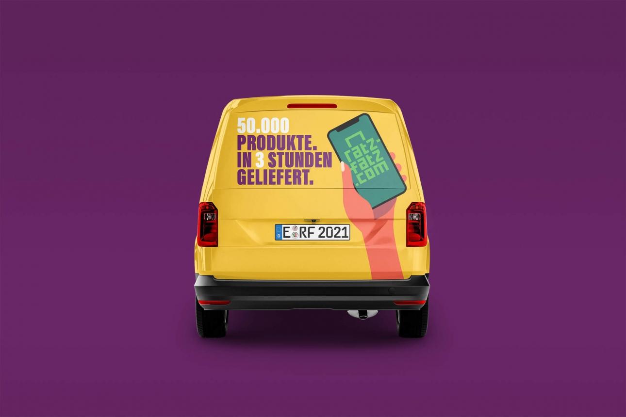 Branding und Fahrzeugbeschriftung mit Illustrationen für Essener Start-Up Ratz-Fatz.com