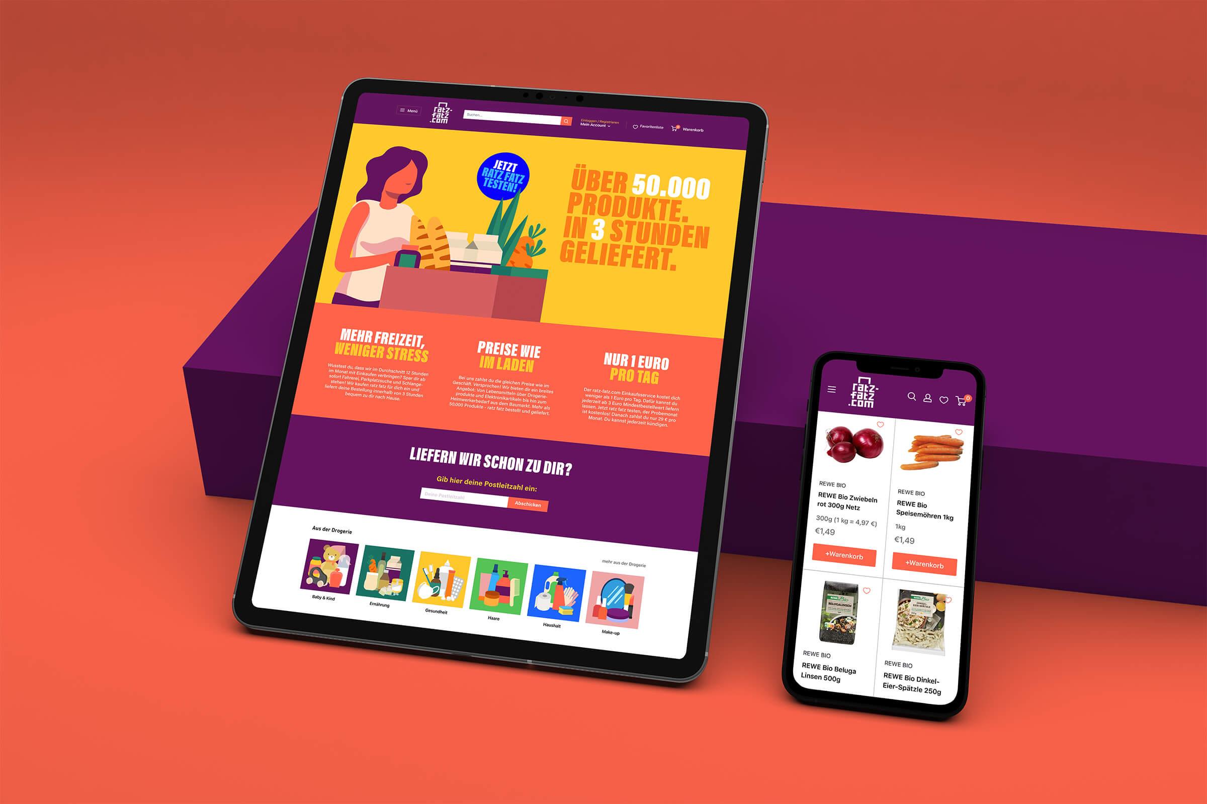 Styling des Onlineshops für Ratz-Fatz.com