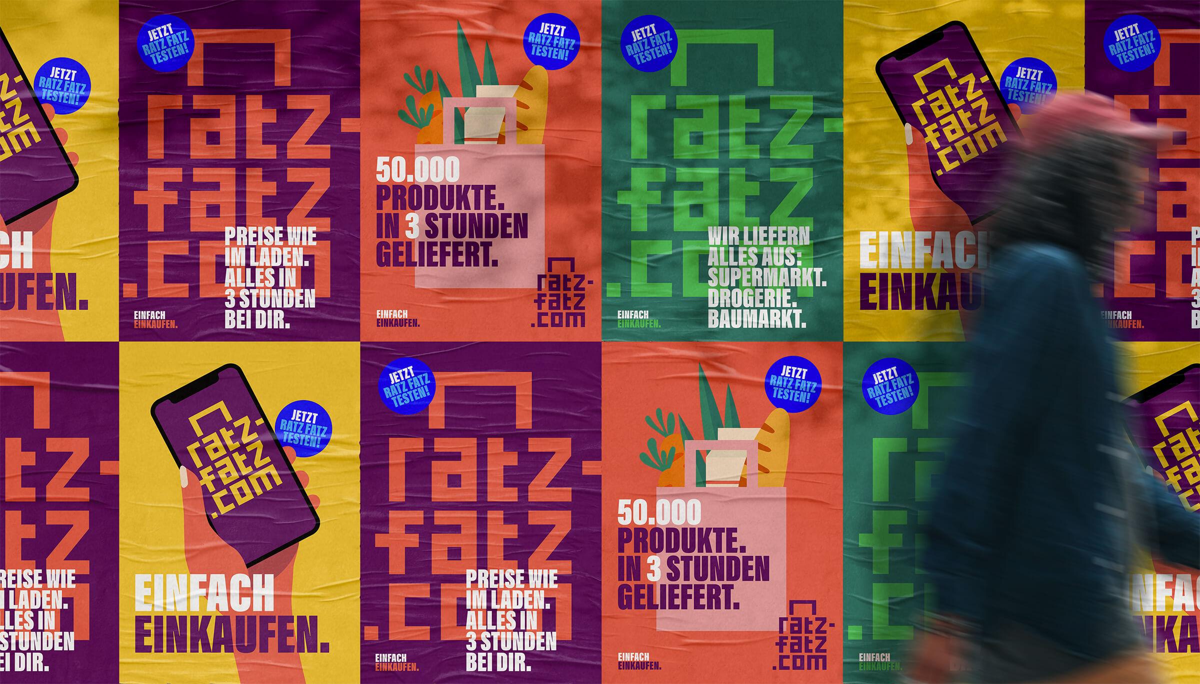 Plakatwand im neuen Corporate Design für Ratz-Fatz.com