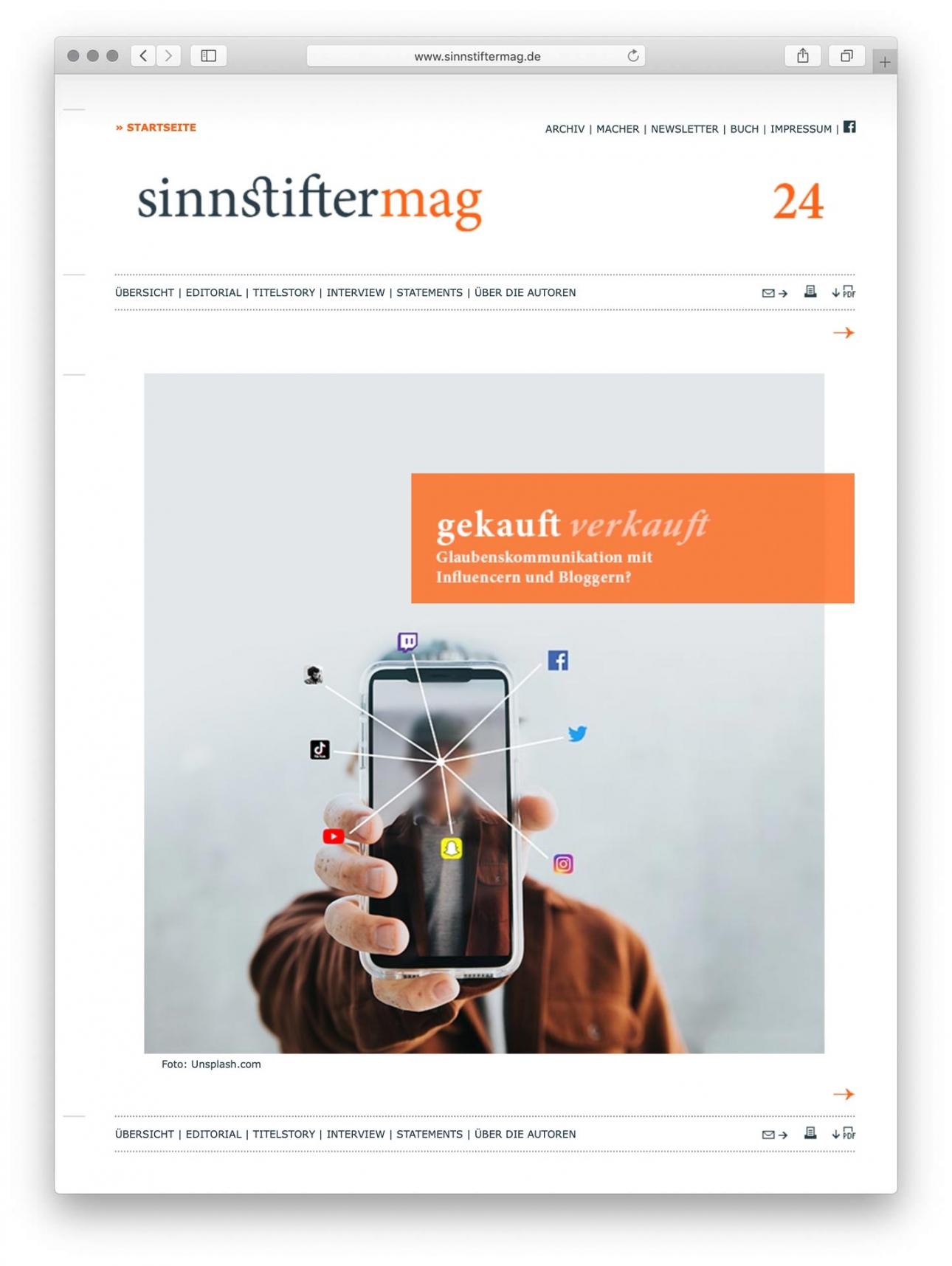gekauft/verkauft – Ausgabe 24 des sinnstiftermag.de, dem Onlinemagazin für Glaubenskommunikation. Redaktion und Gestaltung von der Design- und Werbeagentur 31M aus Essen