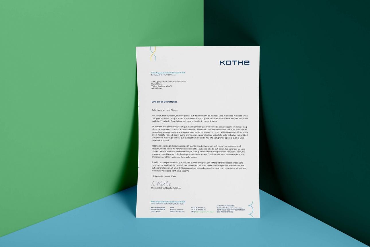 Briefbogen im neuen Kothe Corporate Design