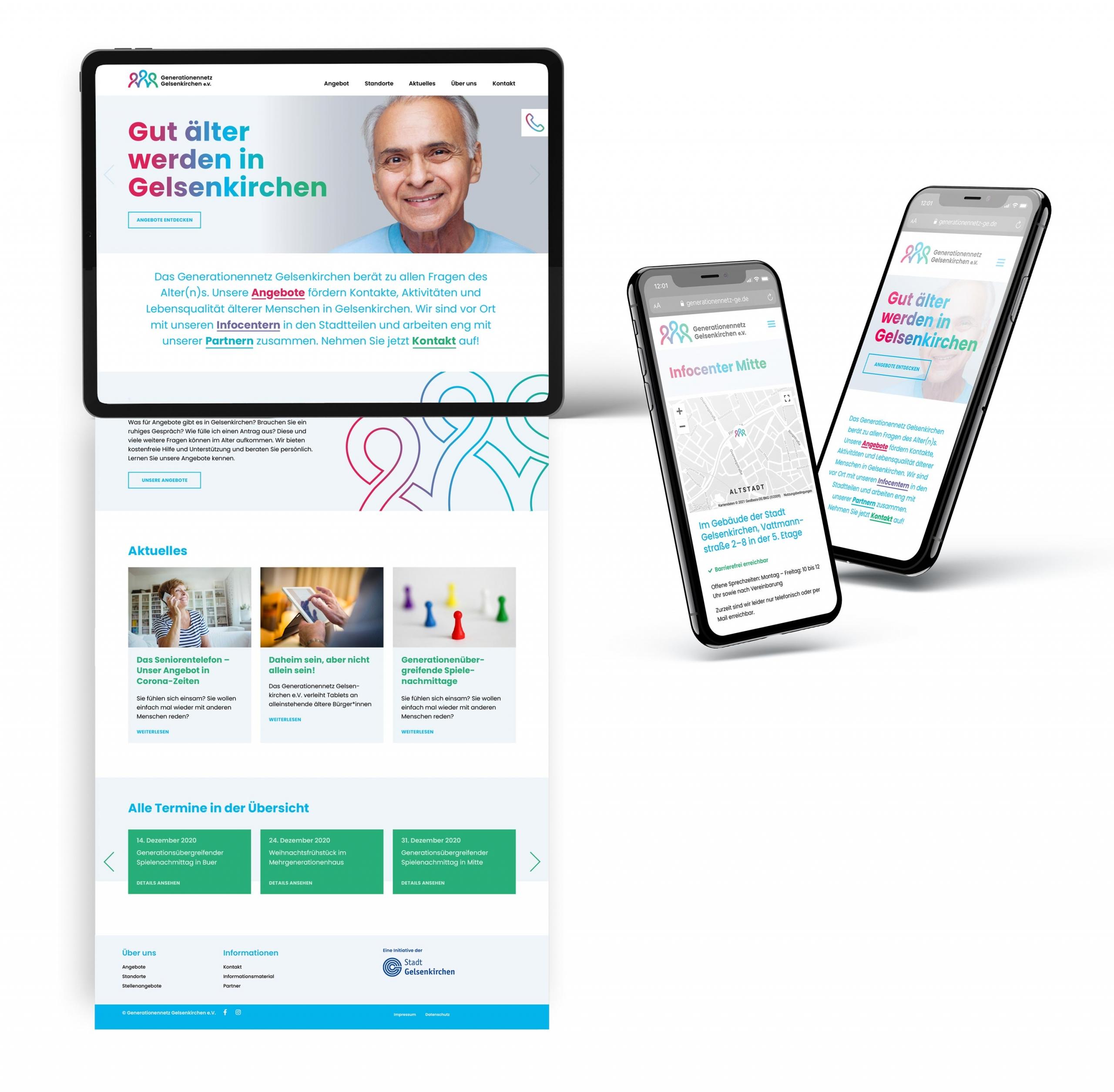 Webdesign im neuen Corporate Design für das Generationennetz Gelsenkirchen e.V.