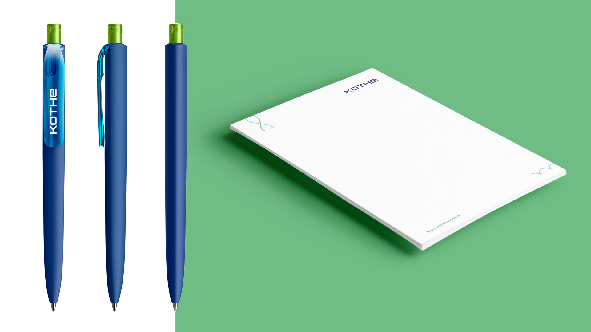 Kugelschreiber und Schreibblöcke im neuen Corporate Design
