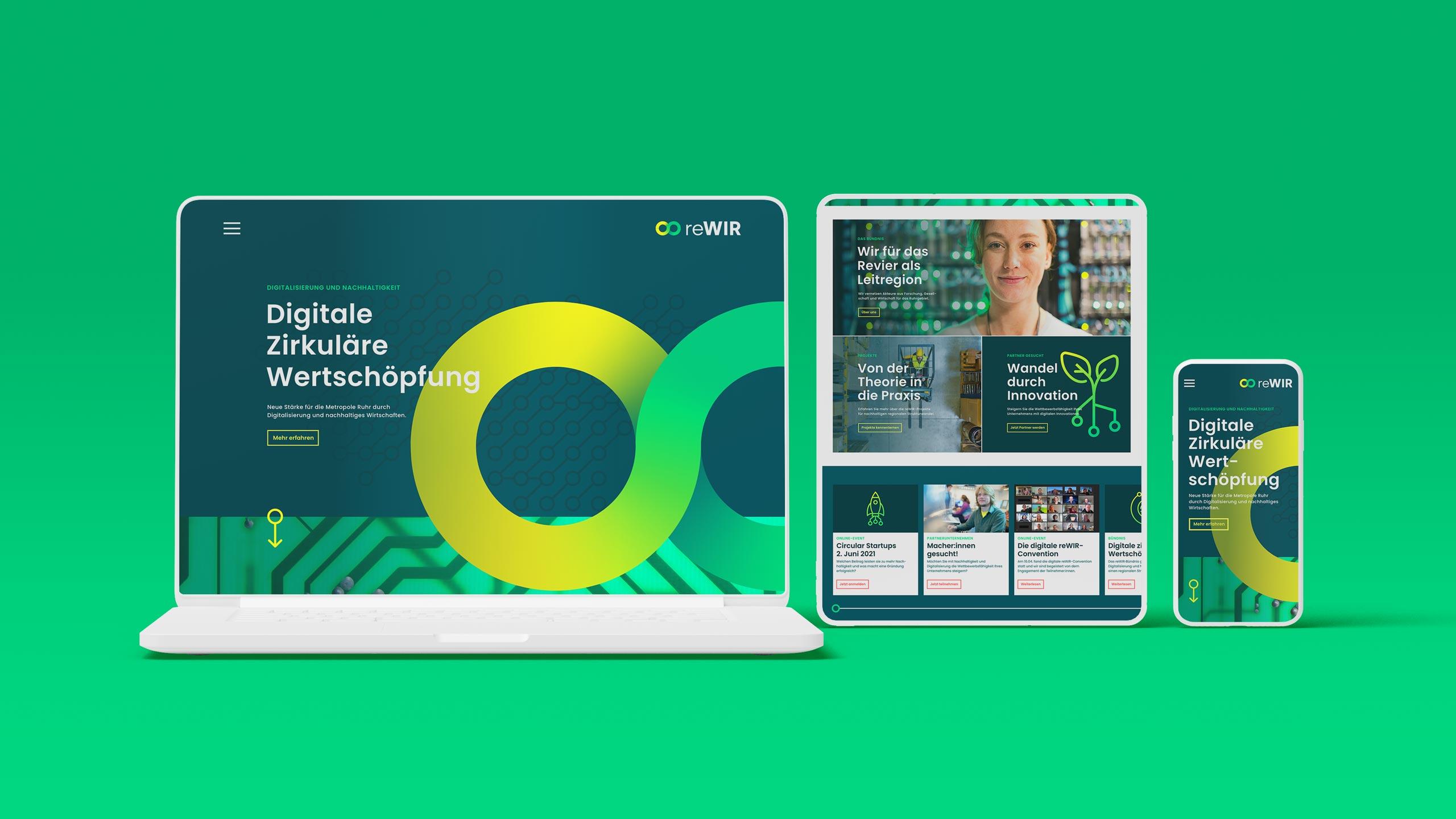 Design der Website, responsive Webdesign für reWIR